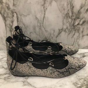Top shop snakeskin pattern flats shoes